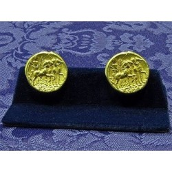 Gemelos Denario Romano Itálica plata dorada